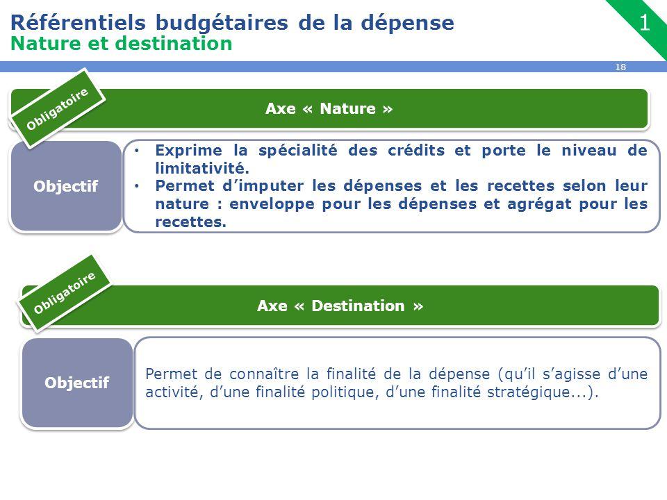 1 Référentiels budgétaires de la dépense Nature et destination