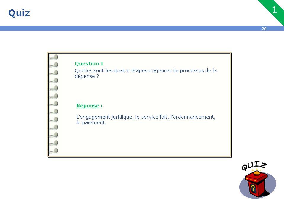 Quiz 1. Question 1. Quelles sont les quatre étapes majeures du processus de la dépense Réponse :