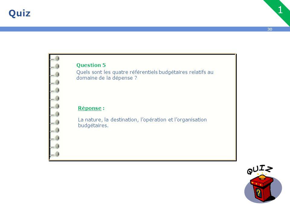 Quiz 1. Question 5. Quels sont les quatre référentiels budgétaires relatifs au domaine de la dépense