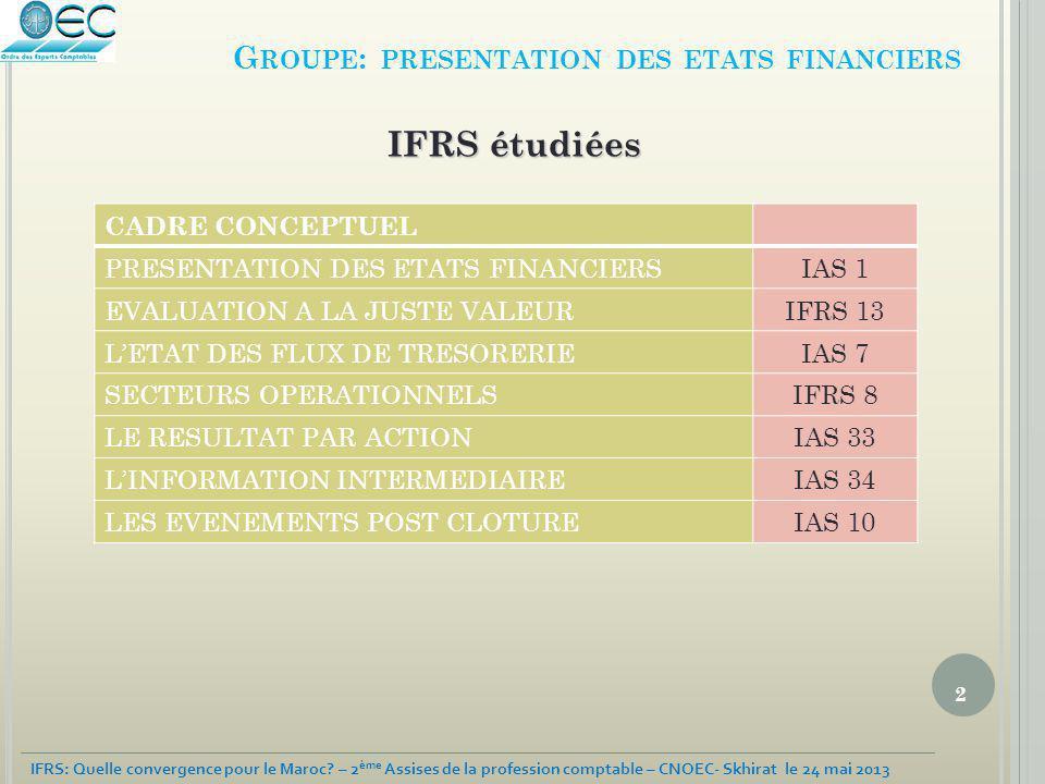 Groupe: presentation des etats financiers