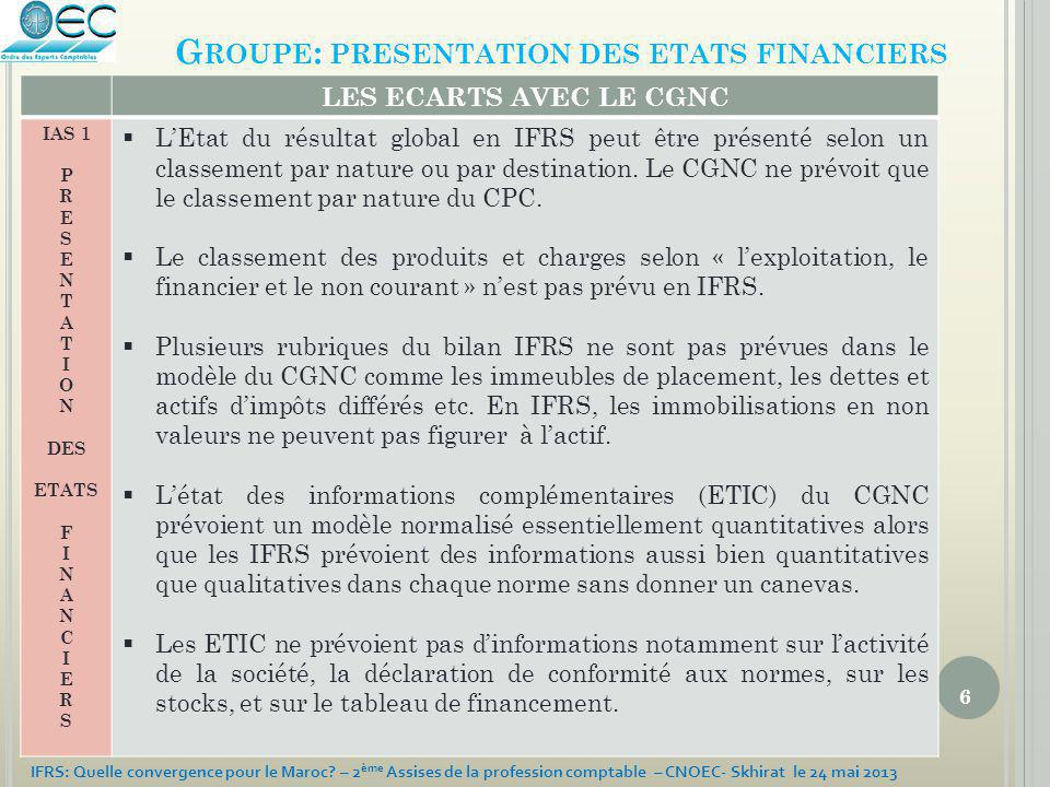 Groupe: presentation des etats financiers