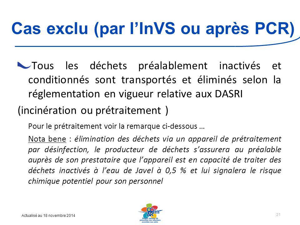 Cas exclu (par l'InVS ou après PCR)