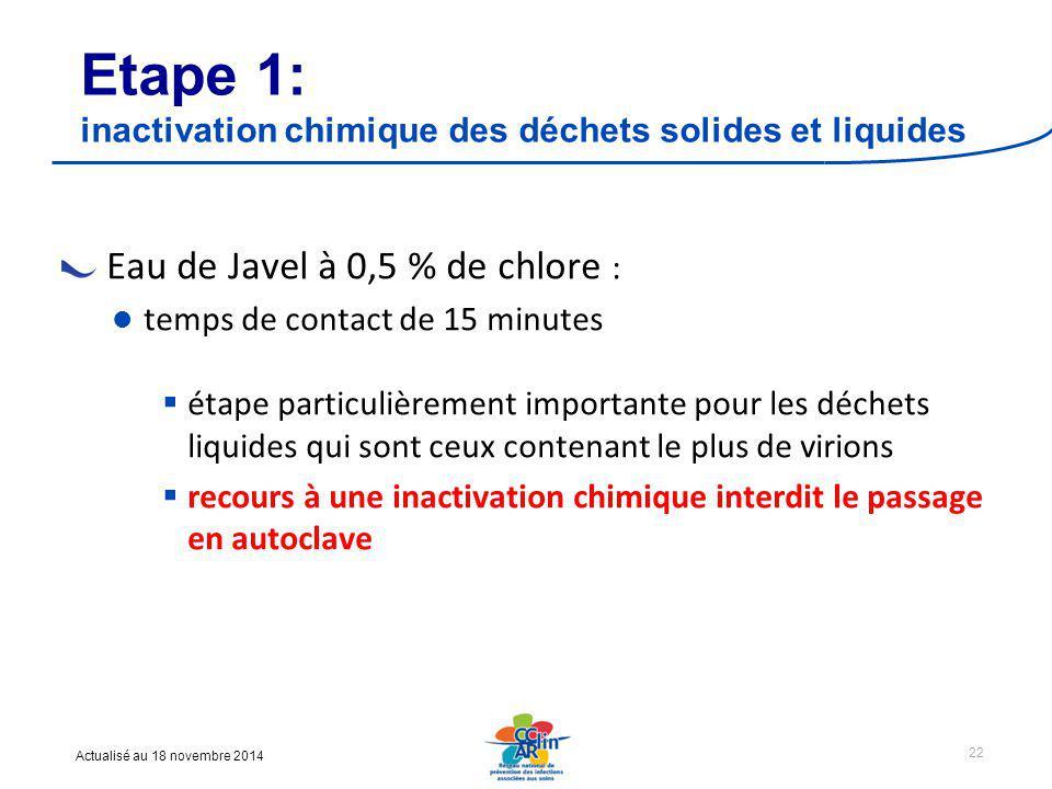 Etape 1: inactivation chimique des déchets solides et liquides