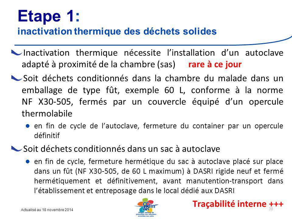 Etape 1: inactivation thermique des déchets solides