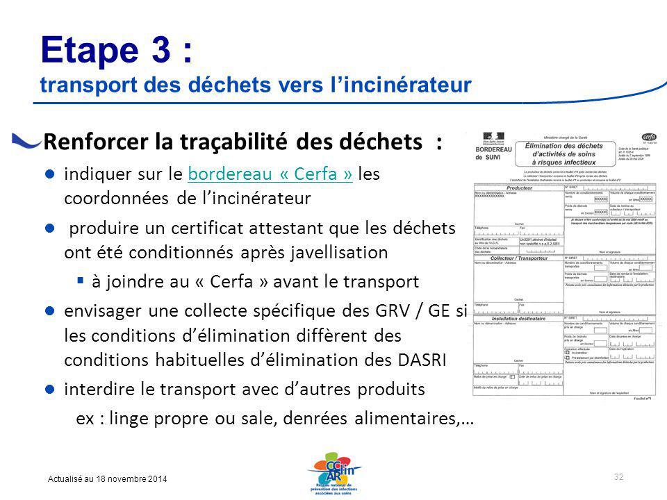 Etape 3 : transport des déchets vers l'incinérateur