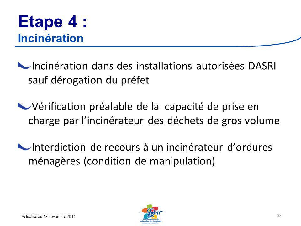 Etape 4 : Incinération Incinération dans des installations autorisées DASRI sauf dérogation du préfet.