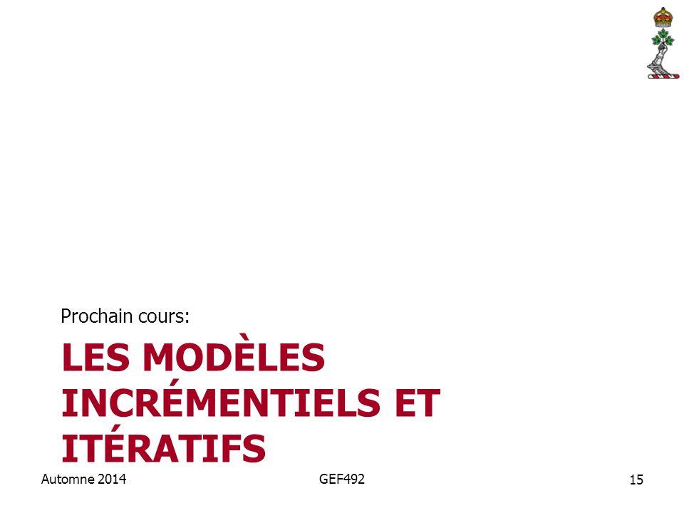 Les modèles incrémentiels et itératifs