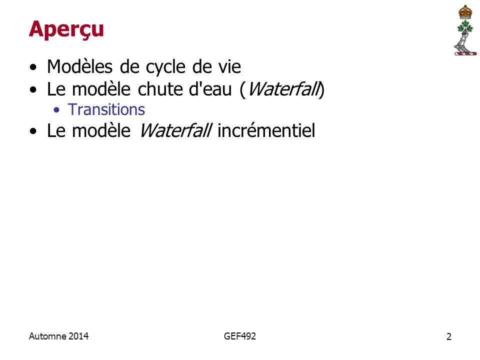 GEF492 - 2 Modèles de cylce de vie Waterfall