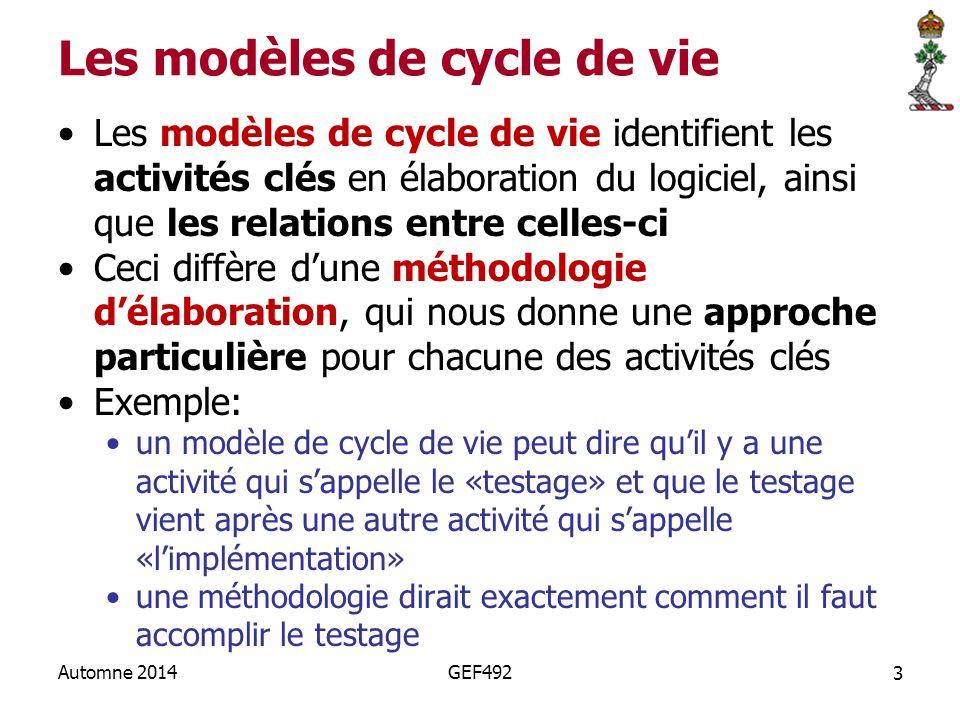 Les modèles de cycle de vie
