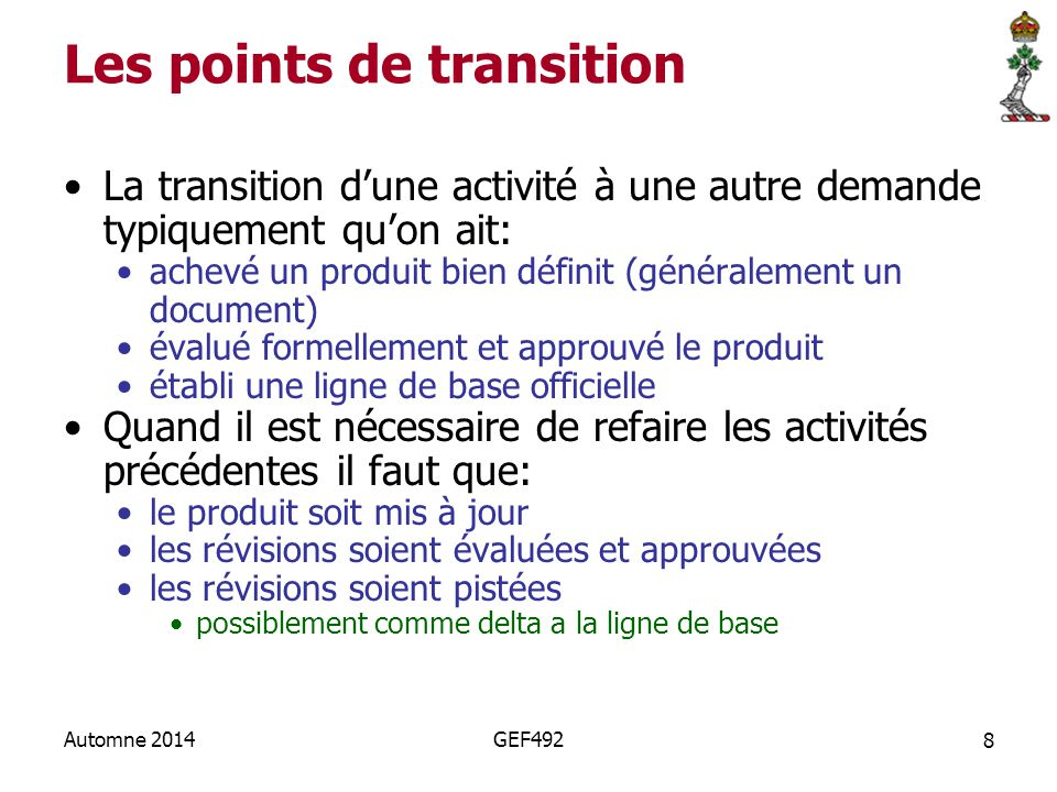 Les points de transition