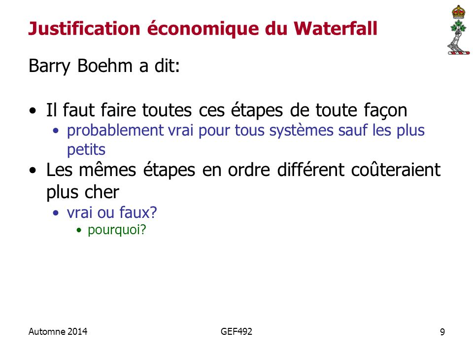 Justification économique du Waterfall