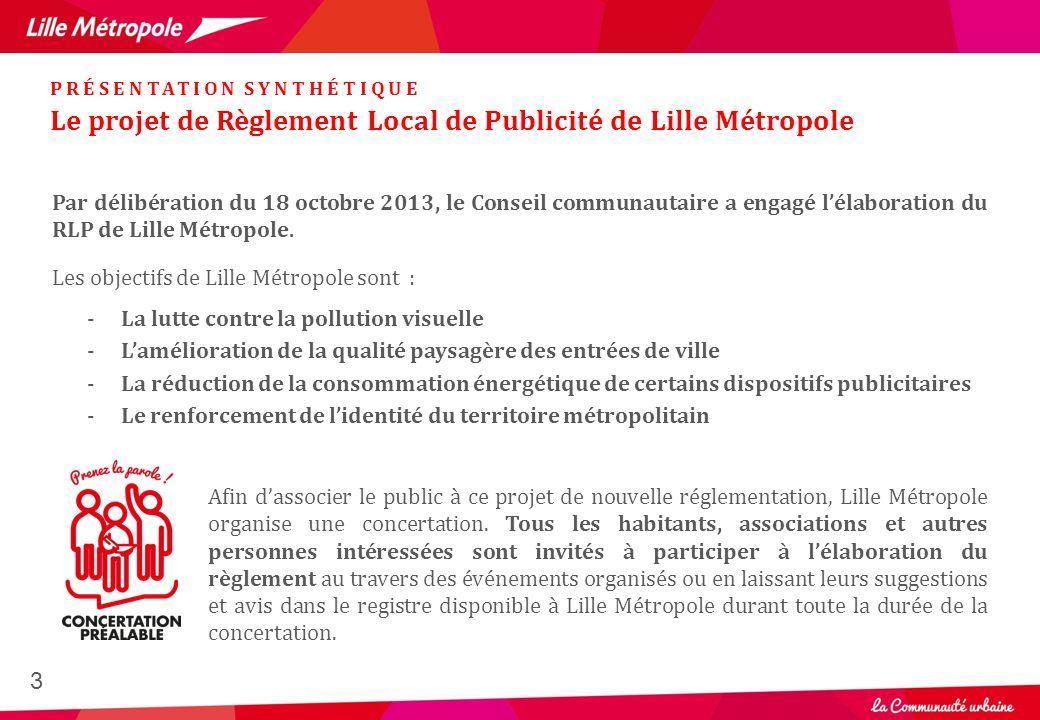 Le projet de Règlement Local de Publicité de Lille Métropole