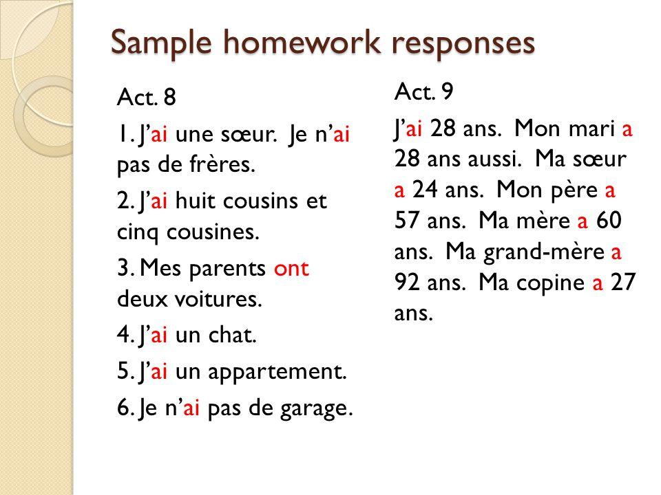 Sample homework responses