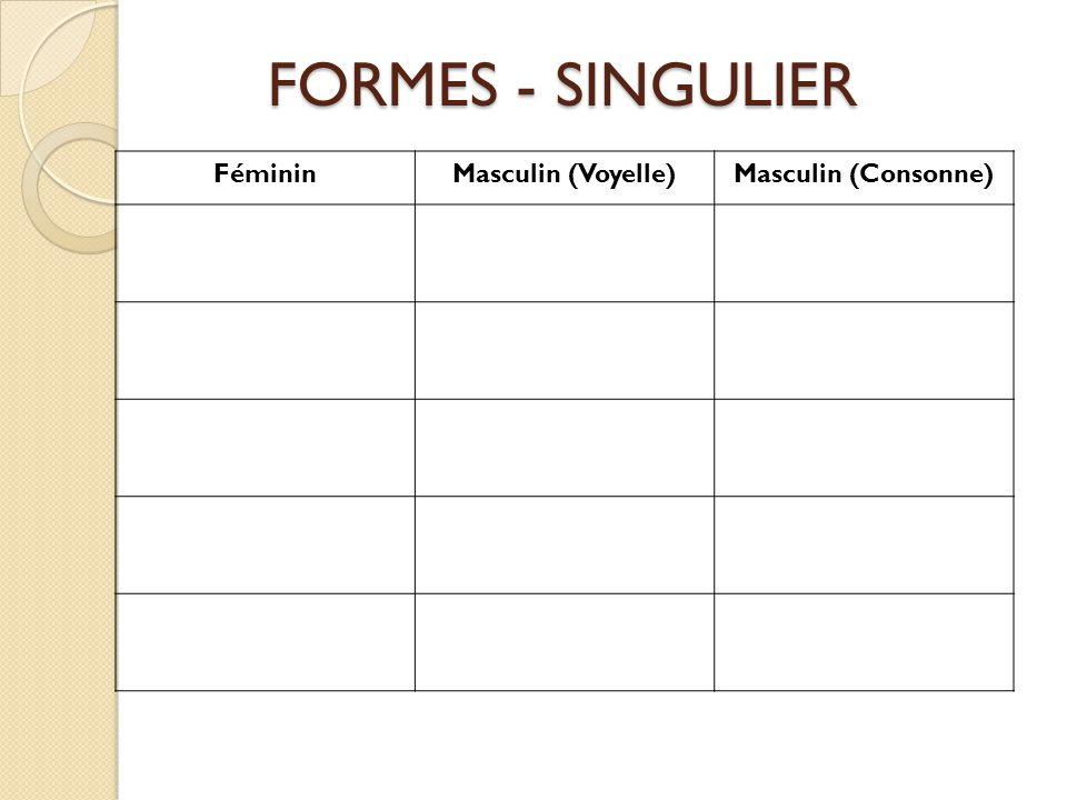 FORMES - SINGULIER Féminin Masculin (Voyelle) Masculin (Consonne)