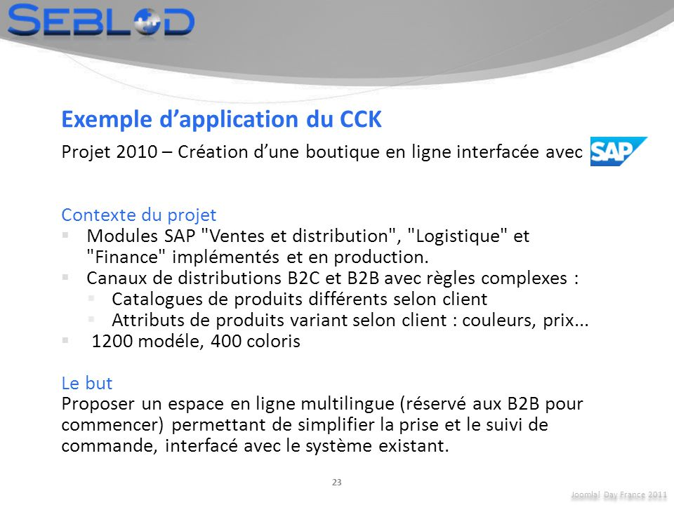 Exemple d'application du CCK