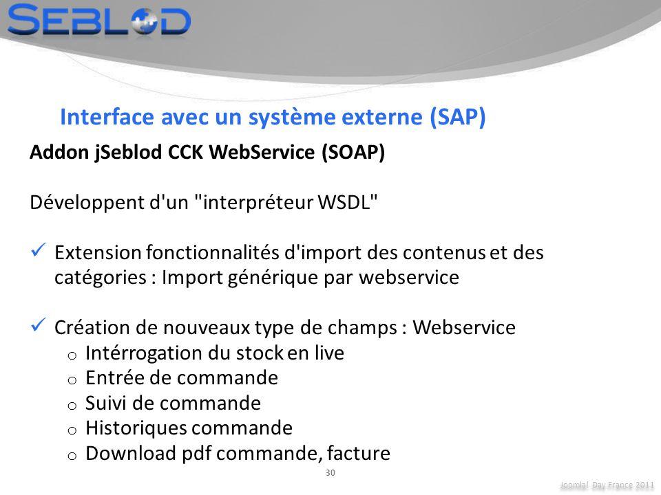 Interface avec un système externe (SAP)