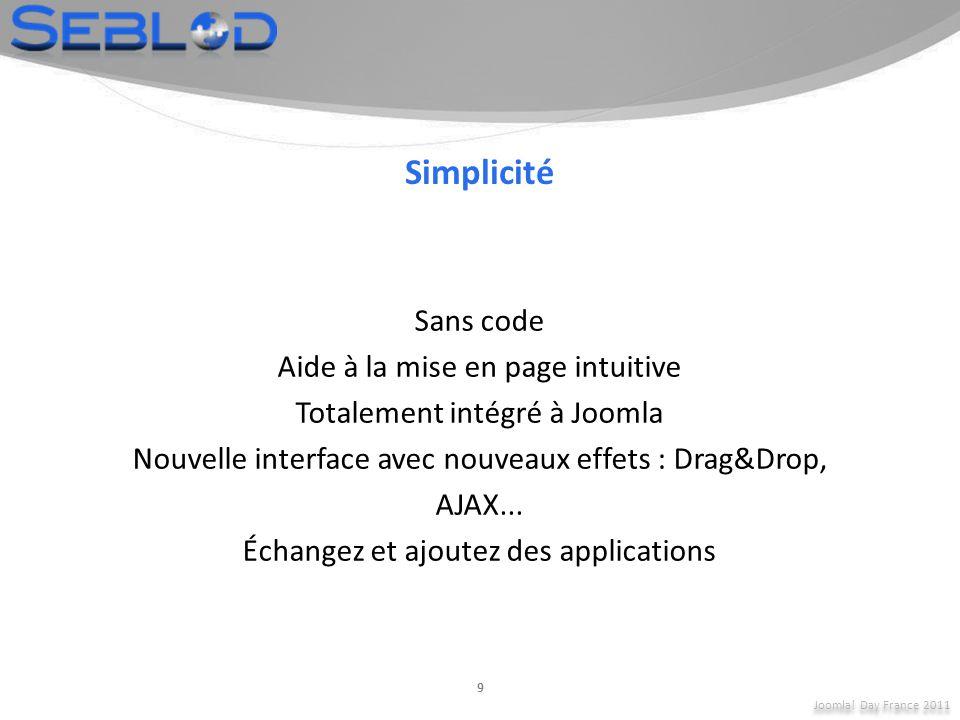 Simplicité Sans code Aide à la mise en page intuitive