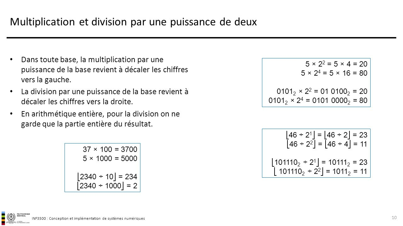 Multiplication et division par une puissance de deux