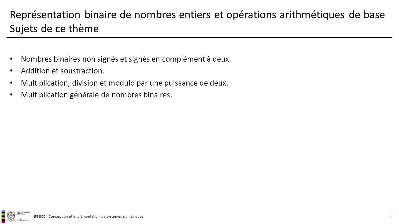 Représentation binaire de nombres entiers et opérations arithmétiques de base Sujets de ce thème