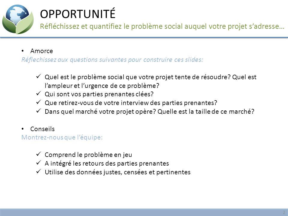 OPPORTUNITÉ Réfléchissez et quantifiez le problème social auquel votre projet s'adresse… Amorce.