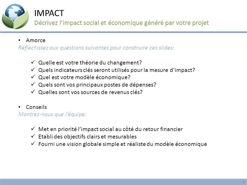 IMPACT Décrivez l'impact social et économique généré par votre projet