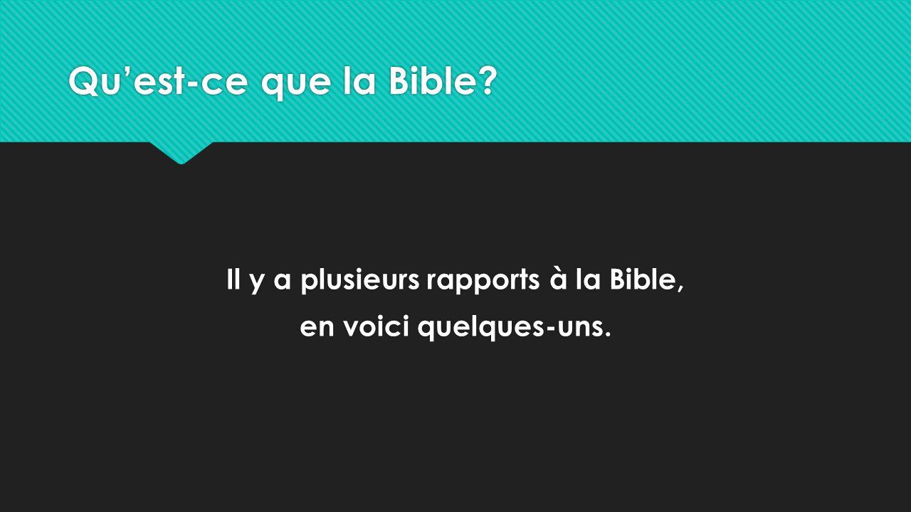 Il y a plusieurs rapports à la Bible, en voici quelques-uns.