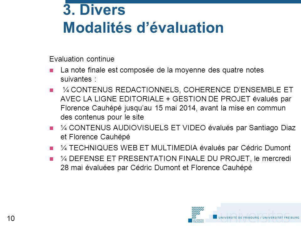 3. Divers Modalités d'évaluation