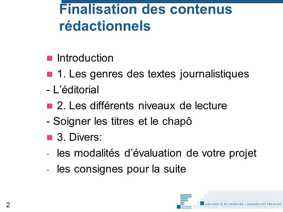 Finalisation des contenus rédactionnels