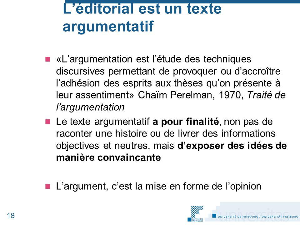 L'éditorial est un texte argumentatif