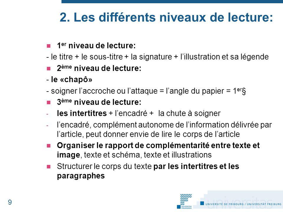 2. Les différents niveaux de lecture: