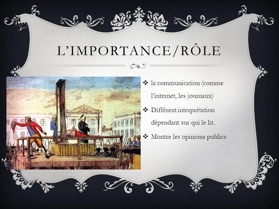 L'importance/rôle la communication (comme l'internet, les journaux)