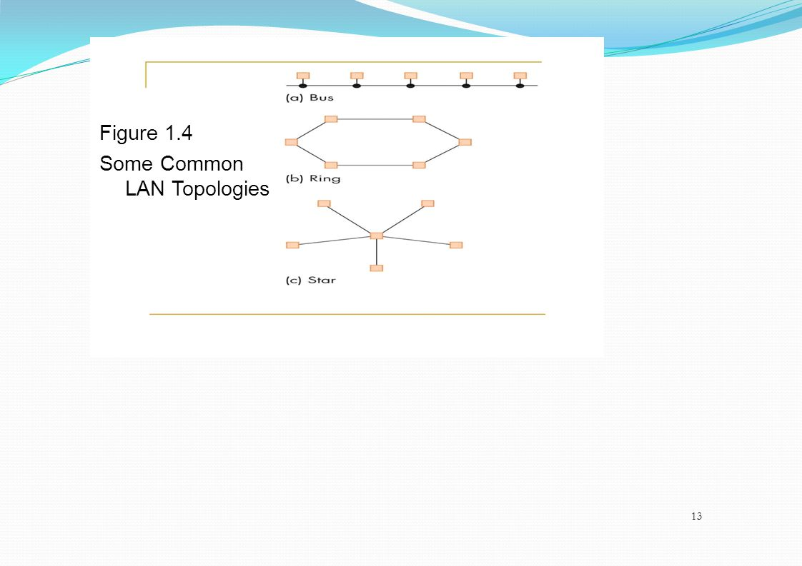 Figure 1.4 Some Common LAN Topologies 13