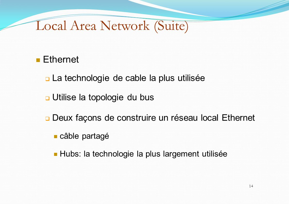 Local Area Network (Suite)