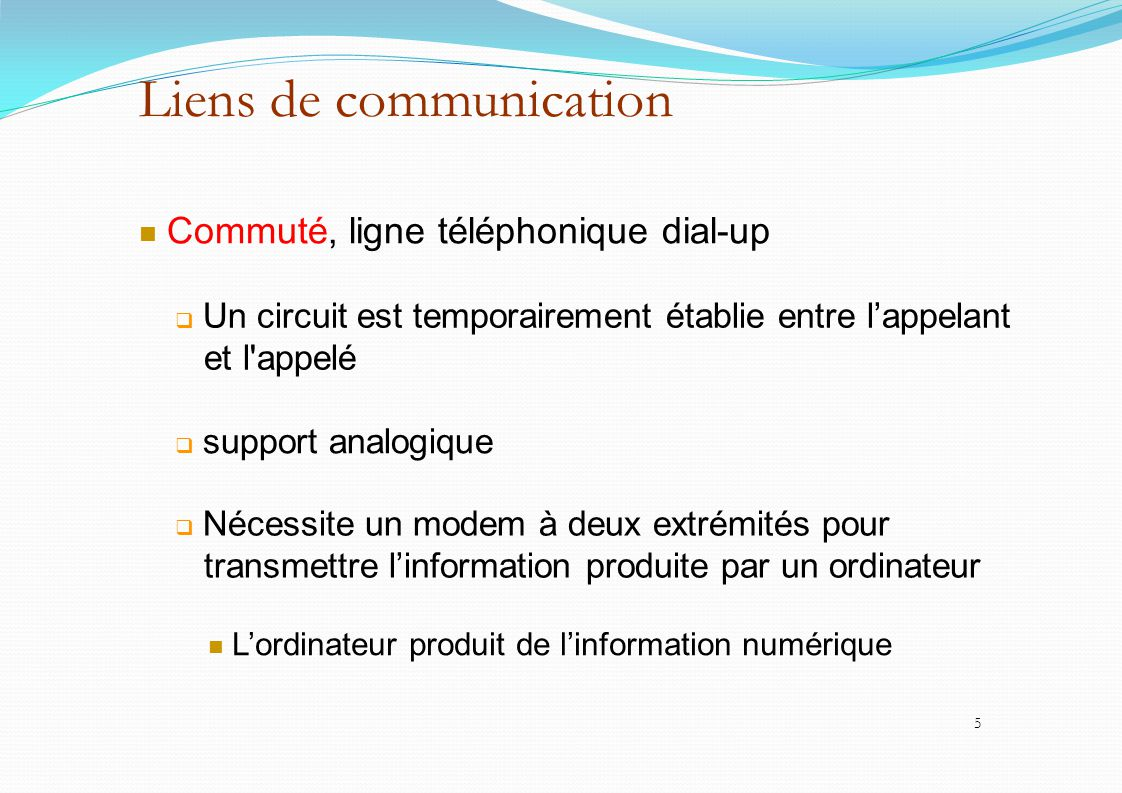 Liens de communication