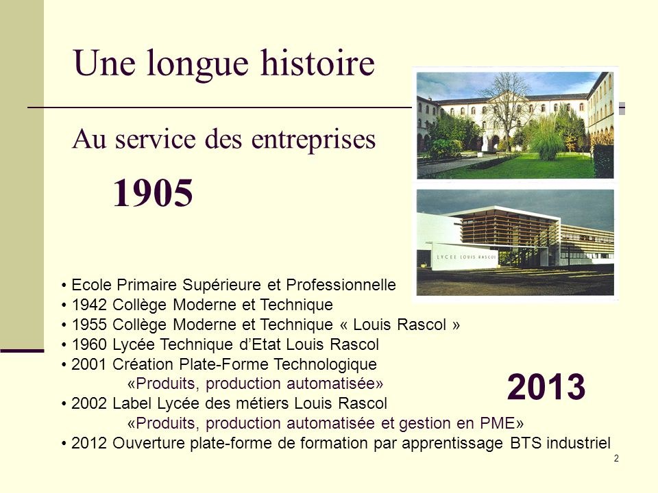 1905 Une longue histoire 2013 Au service des entreprises