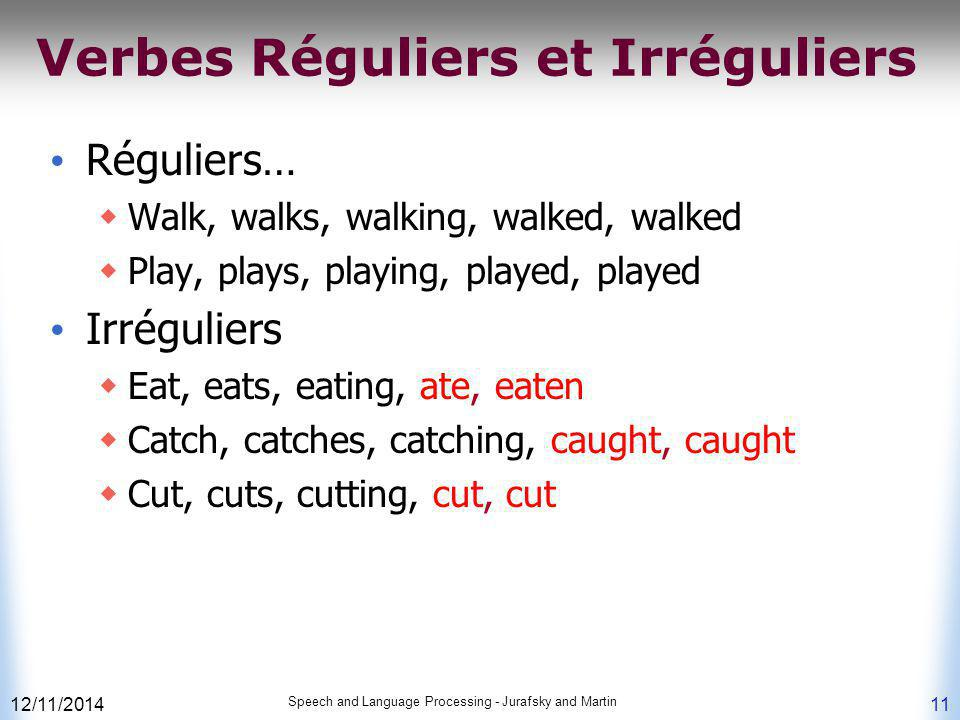 Verbes Réguliers et Irréguliers