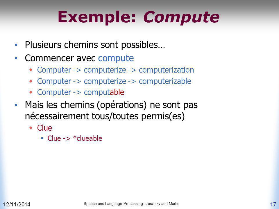 Exemple: Compute Plusieurs chemins sont possibles…