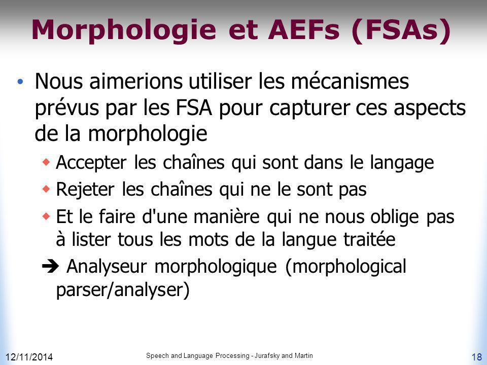 Morphologie et AEFs (FSAs)