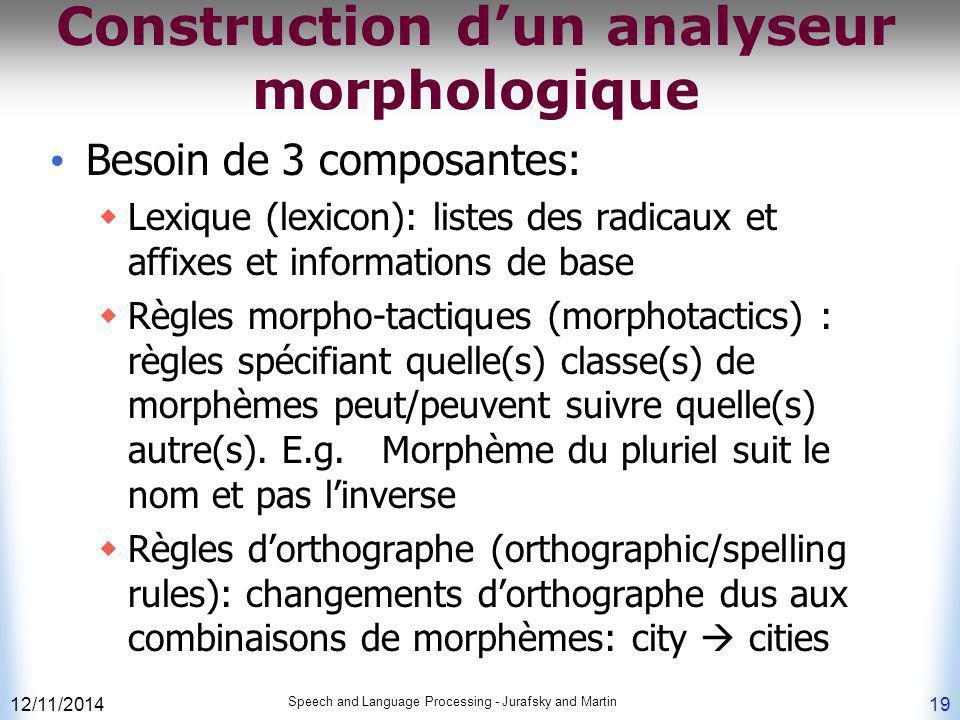 Construction d'un analyseur morphologique