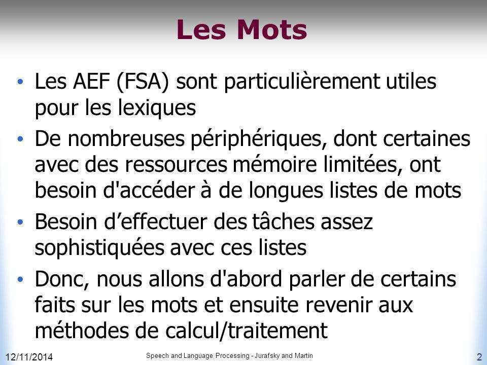 Les Mots Les AEF (FSA) sont particulièrement utiles pour les lexiques