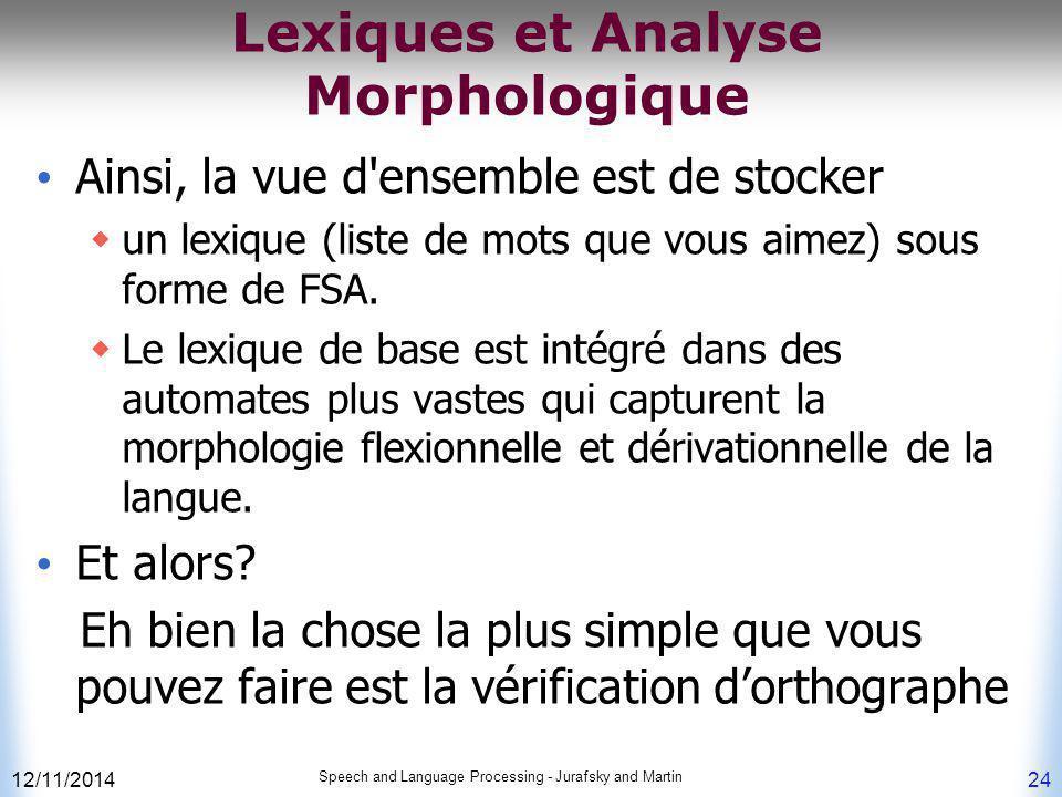 Lexiques et Analyse Morphologique