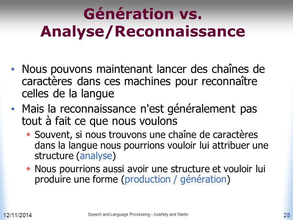 Génération vs. Analyse/Reconnaissance