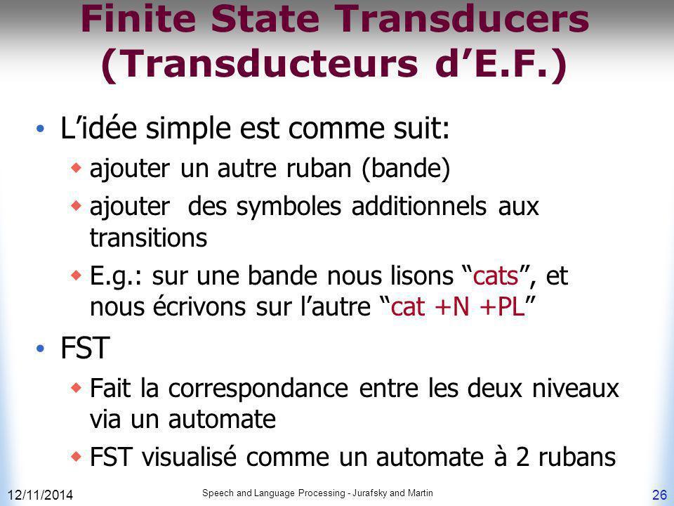 Finite State Transducers (Transducteurs d'E.F.)