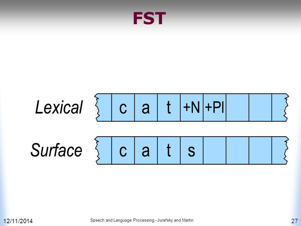 FST 4/7/2017 Speech and Language Processing - Jurafsky and Martin
