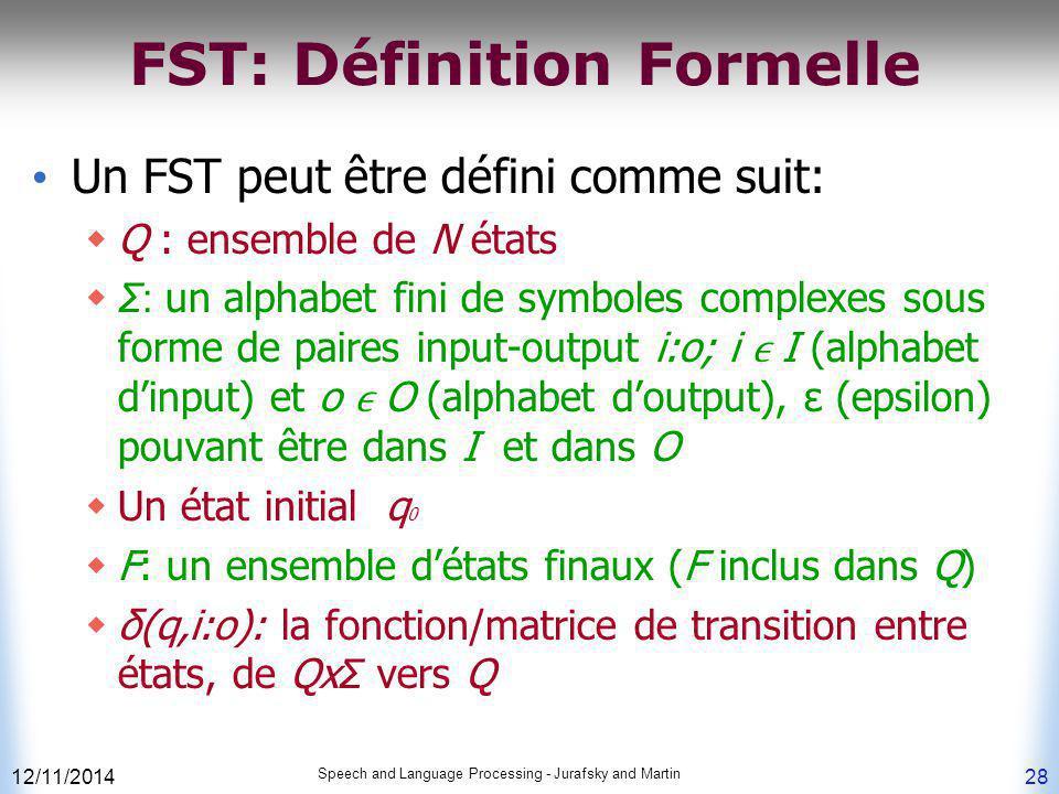 FST: Définition Formelle