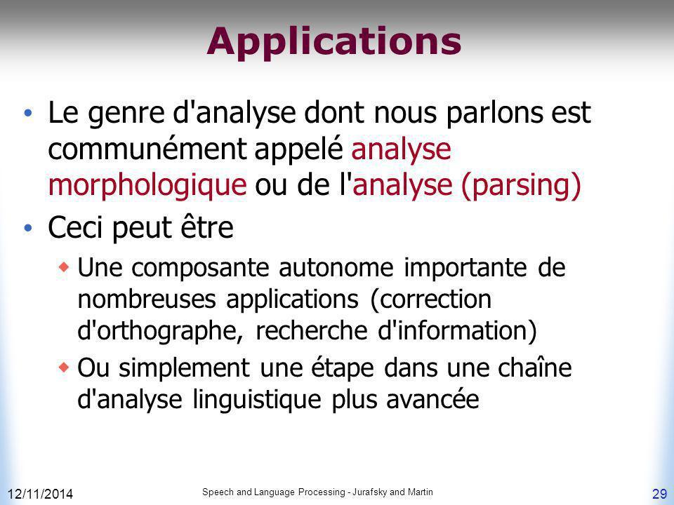 Applications Le genre d analyse dont nous parlons est communément appelé analyse morphologique ou de l analyse (parsing)