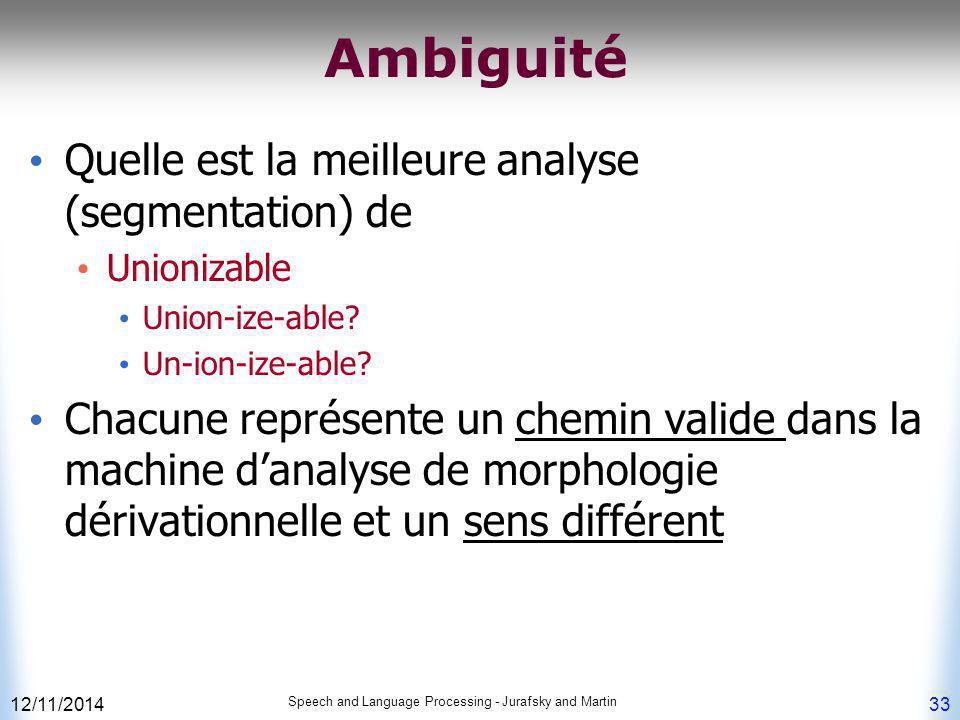 Ambiguité Quelle est la meilleure analyse (segmentation) de