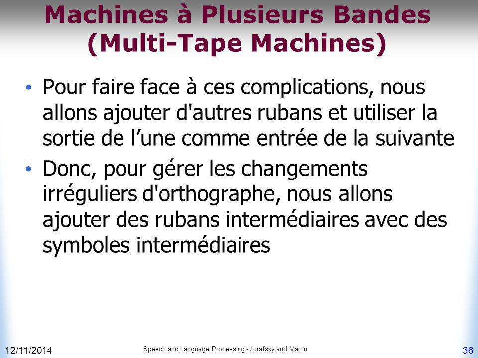 Machines à Plusieurs Bandes (Multi-Tape Machines)