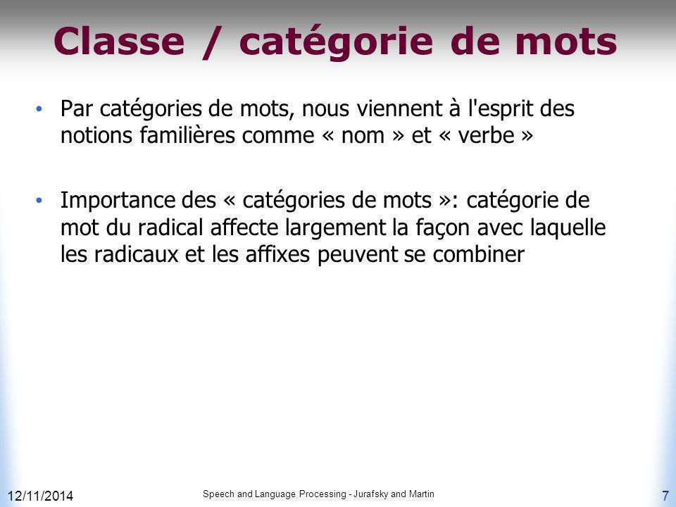 Classe / catégorie de mots