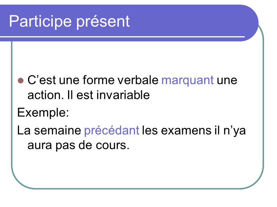 Participe présent C'est une forme verbale marquant une action. Il est invariable. Exemple: